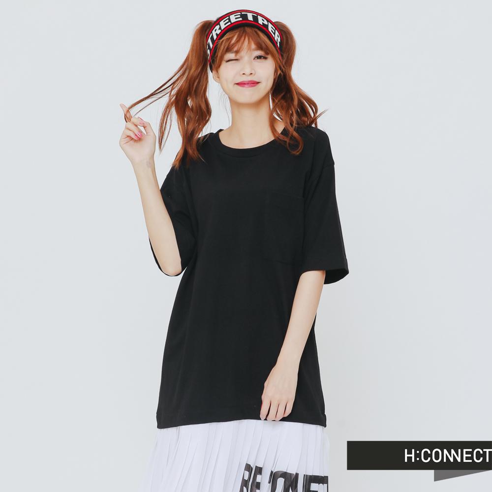 H:CONNECT 韓國品牌 女裝-下擺拼接百摺洋裝-黑
