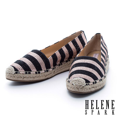 HELENE-SPARK-撞色條紋晶鑽草編休閒鞋