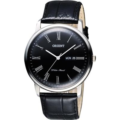 ORIENT 都會極簡羅馬石英腕錶-黑/40mm
