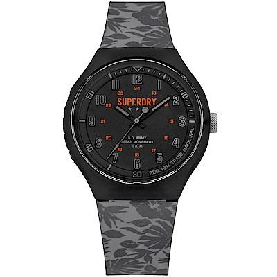 Superdry極度乾燥潮流扶桑花時尚手錶-黑/43mm