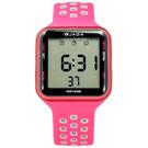 JAGA 捷卡 方型電子計時碼錶鬧鈴防水透氣運動矽膠手錶-桃紅色/38mm