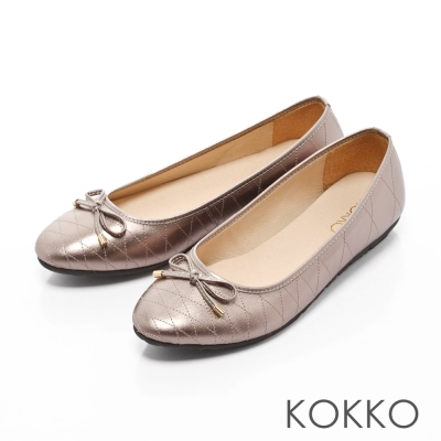KOKKO-經典菱格紋真皮蝴蝶結平底鞋-復古銅