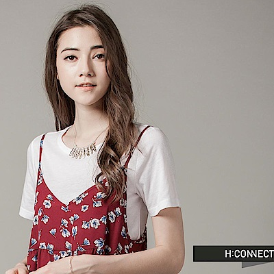H:CONNECT 韓國品牌 女裝 - 兩件式碎花細肩洋裝-紅(快)