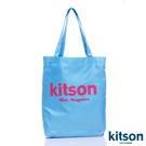 kitson  經典LOGO購物袋/托特包  水藍