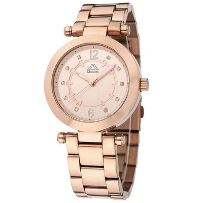 Kappa 十全十美不鏽鋼時尚腕錶-玫瑰金/38mm