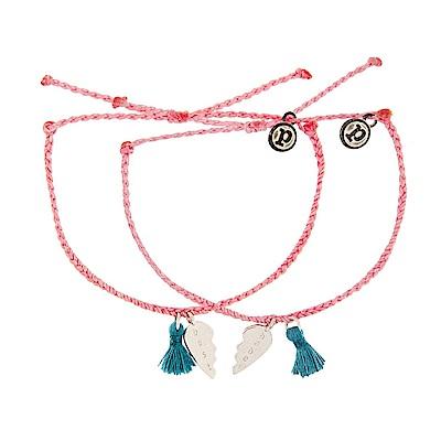 Pura Vida 美國手工 銀色BEST BABES粉紅色臘線可調式防水衝浪手繩-2入組