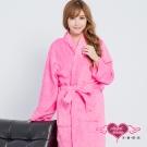 保暖睡袍 亮麗綺想 柔軟珊瑚絨一件式綁帶連身睡衣(深粉F) AngelHoney天使霓裳
