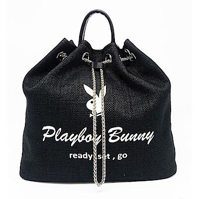 PLAYBOY- 2WAY後背水桶包 Bling Night系列-個性黑