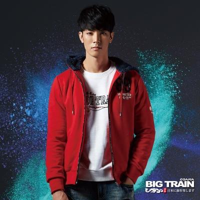 BIG TRAIN 文字貼布繡連帽針織外套-男-紅色