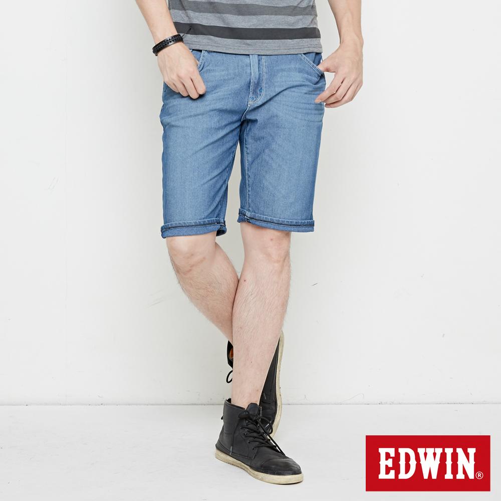 EDWIN 迦績極涼寬短褲-男-石洗藍