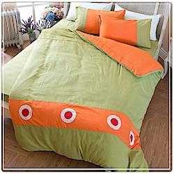 eyah宜雅 北歐時尚立體刺繡雙人被套床包四件組 簡約 叢林綠
