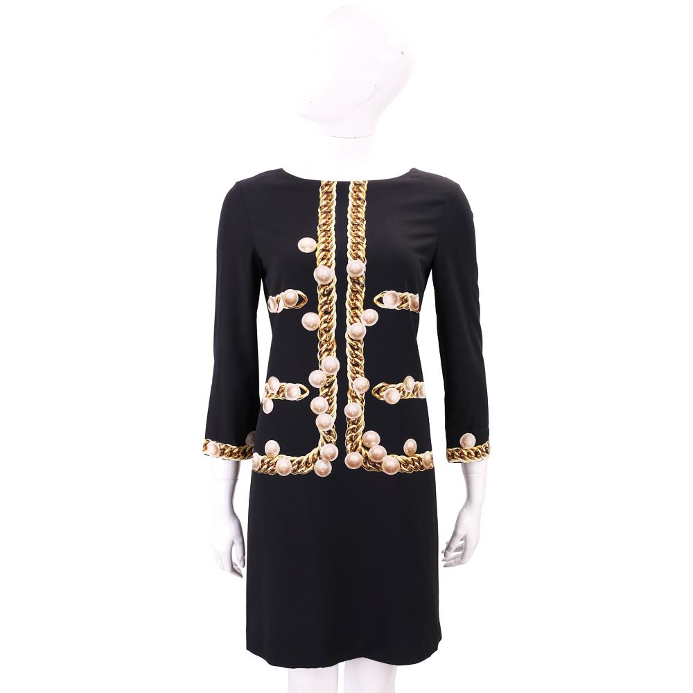MOSCHINO 黑色珍珠鍊圖印長袖洋裝