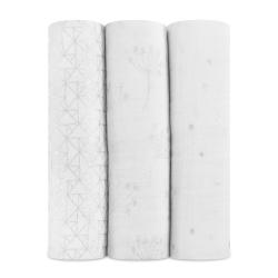 美國aden+anais輕柔新生兒包巾(3入)-蒲公英-銀AA4506