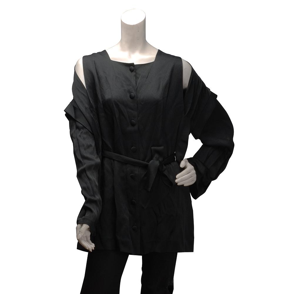 BALENCIAGA 垂墜傘狀露肩綁腰上衣(墨綠-36)