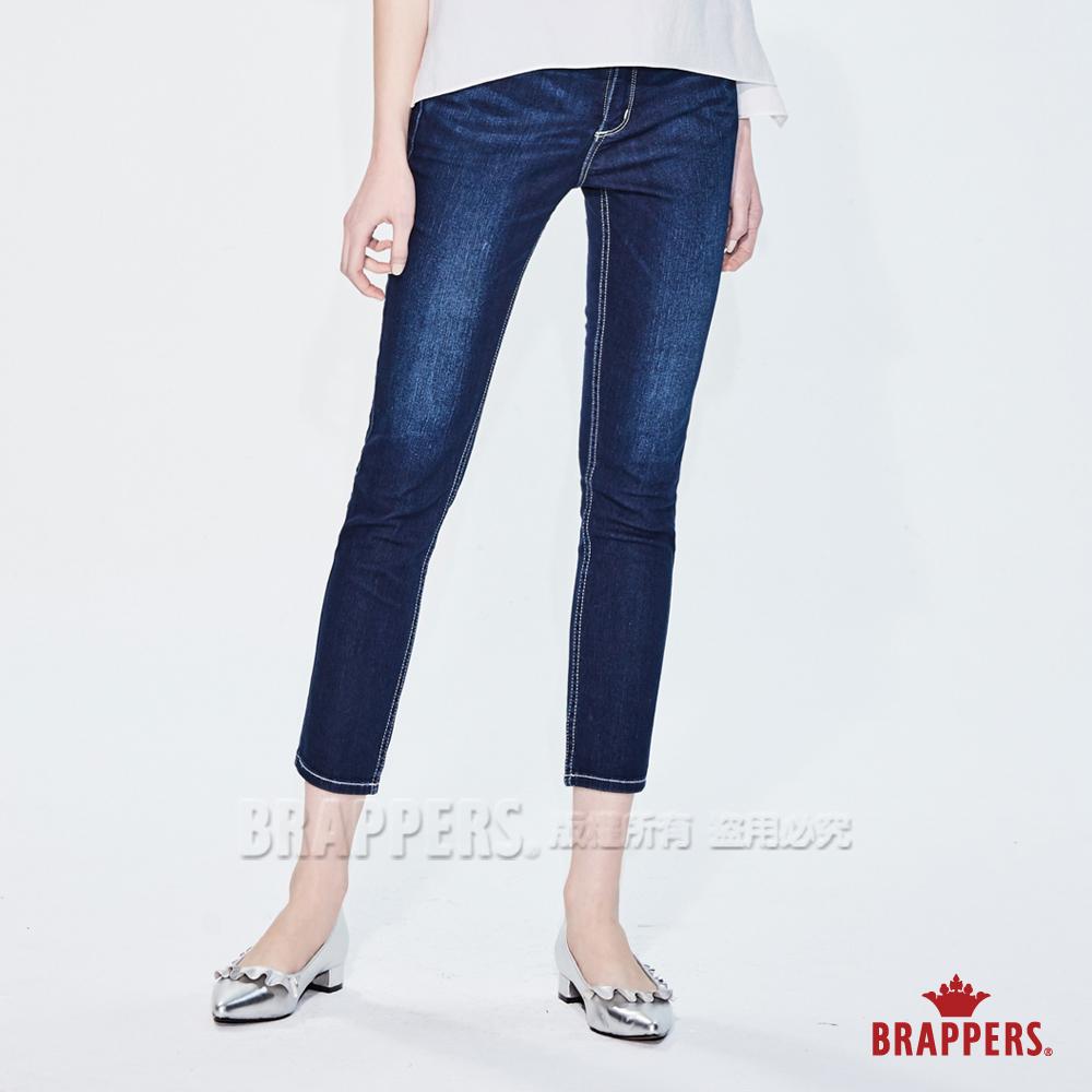 BRAPPERS 女款 新美腳Royal系列-彈性中低腰鑲鑽七分反摺褲-藍