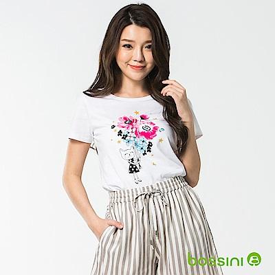 bossini女裝-印花短袖T恤47白