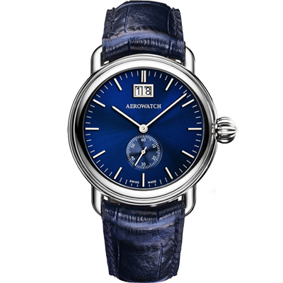 AEROWATCH 太陽飾紋大日期小秒針腕錶-藍/40mm