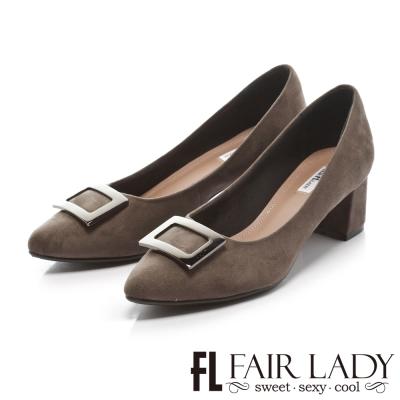 Fair Lady 優雅小姐Miss Elegant 秋色魅力尖頭低跟鞋 灰