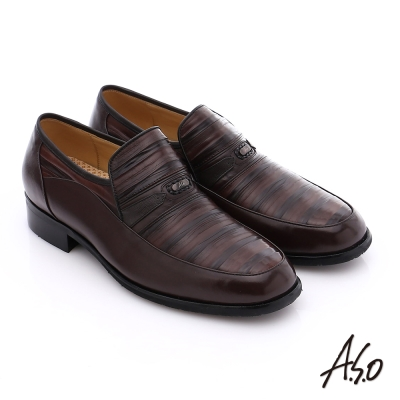 A.S.O 超輕雙核心 雙色拼接真皮直套式奈米紳士鞋 咖啡色