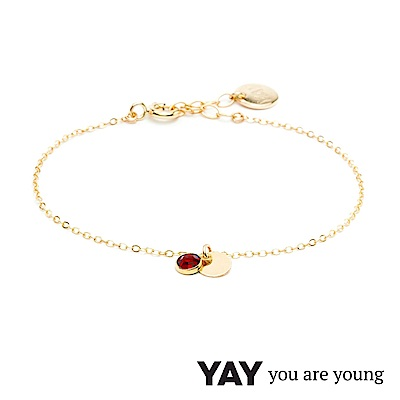 YAY You Are Young 法國品牌 Sultane 紅水晶手鍊 金色