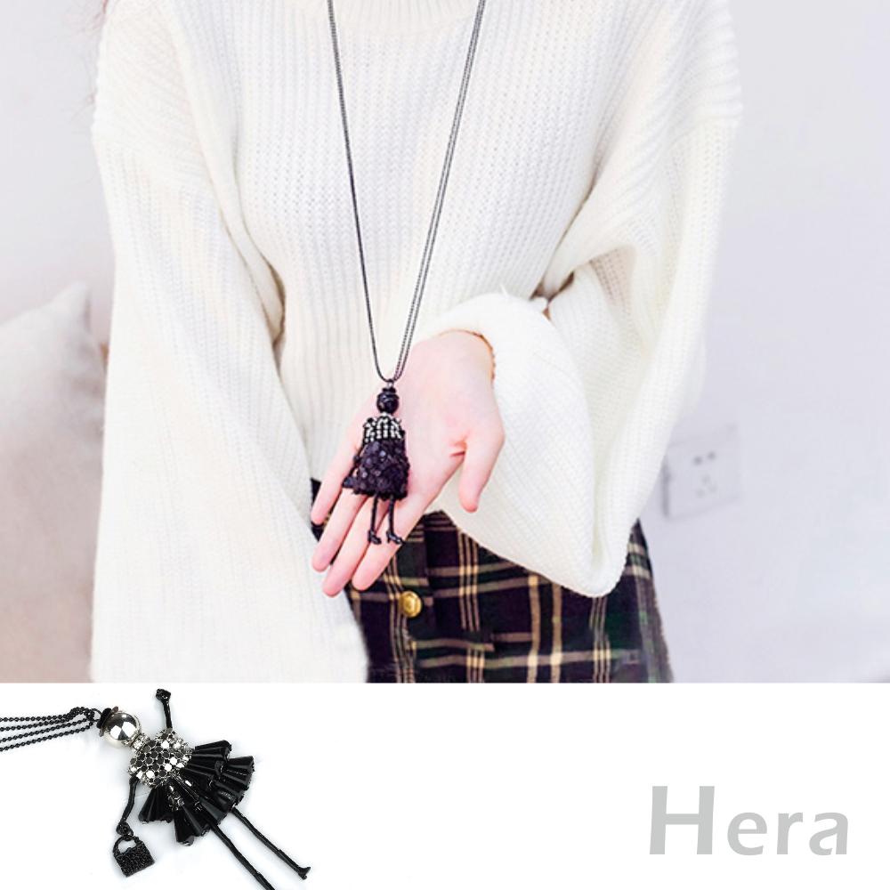 Hera 赫拉 亮片娃娃水滴流蘇水鑽毛衣鏈/長項鏈(2色)