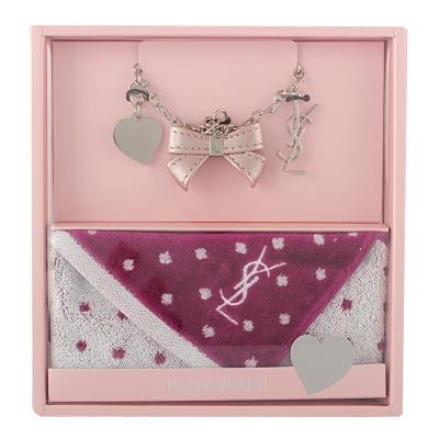 YSL 甜美公主風吊飾雪花點點方巾禮盒組-時尚銀