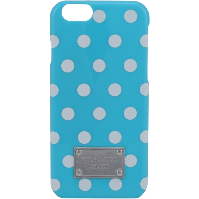 MICHAEL KORS 白圓點iPhone6手機殼(水藍)