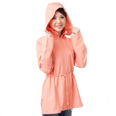 《台灣製抗UV防曬》日式荷葉領纖腰涼外套(嫩粉橘 / 丈青藍)