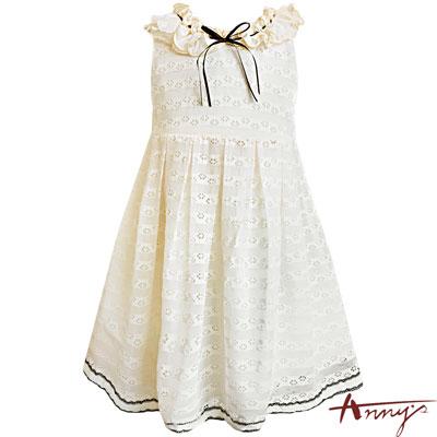 Annys女神立體荷葉蕾絲紋透視洞洞洋裝*7149米白
