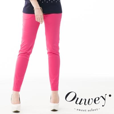 OUWEY歐薇-多層次褲頭窄管長褲-共2色