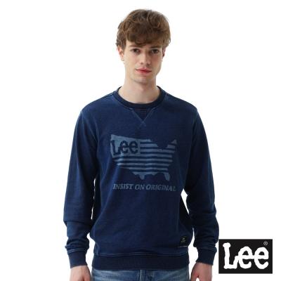 Lee 美國國旗印花圓領厚TEE-男款-藍