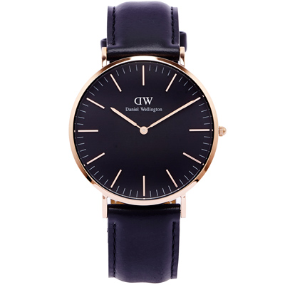 DW Daniel Wellington Sheffield手錶-黑面X玫瑰金框/40mm