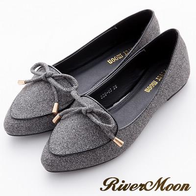 River&Moon加大尺碼-韓版細絨金綴朵結滾邊尖頭樂福鞋-灰