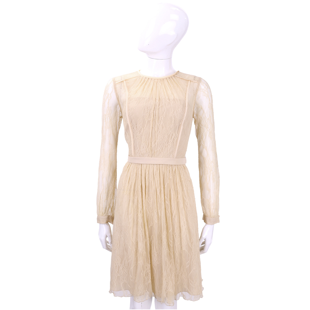 BLUGIRL 粉膚色蕾絲拼接長袖洋裝
