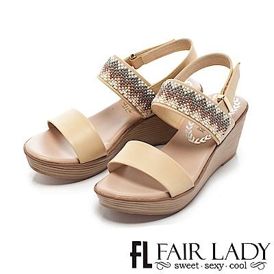 Fair Lady 幾何圖形串珠裝飾楔型涼鞋 黃