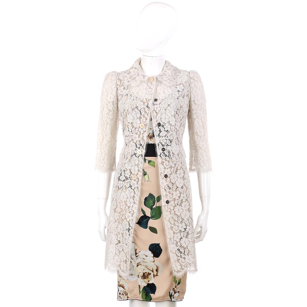 DOLCE & GABBANA 灰白色蕾絲七分袖薄長版罩衫外套