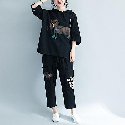 連帽卡通貓咪印花寬鬆中袖T恤-F-Keer