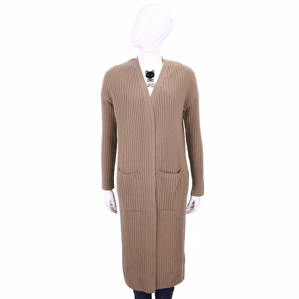 ALLUDE 100%喀什米爾直條織紋針織羊毛長版外套(可可色)