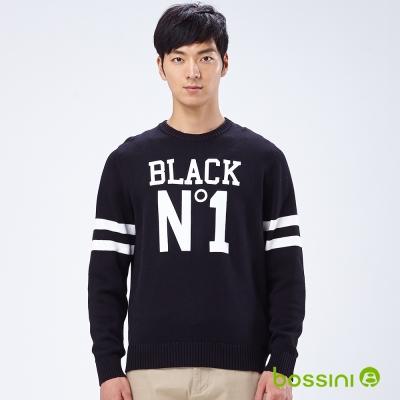 bossini男裝-文字圓領線衫05黑