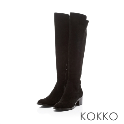 KOKKO-美腿顯瘦異材拼接貼腿膝長靴-名媛黑