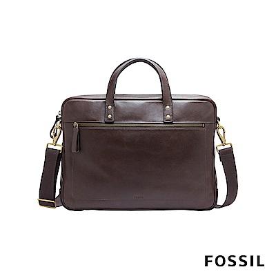FOSSIL HASKELL 俐落商旅公事扁包-深咖啡色