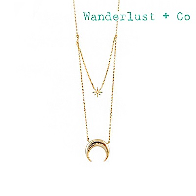 Wanderlust+Co 澳洲品牌 新月北極星鑲鋯項鍊