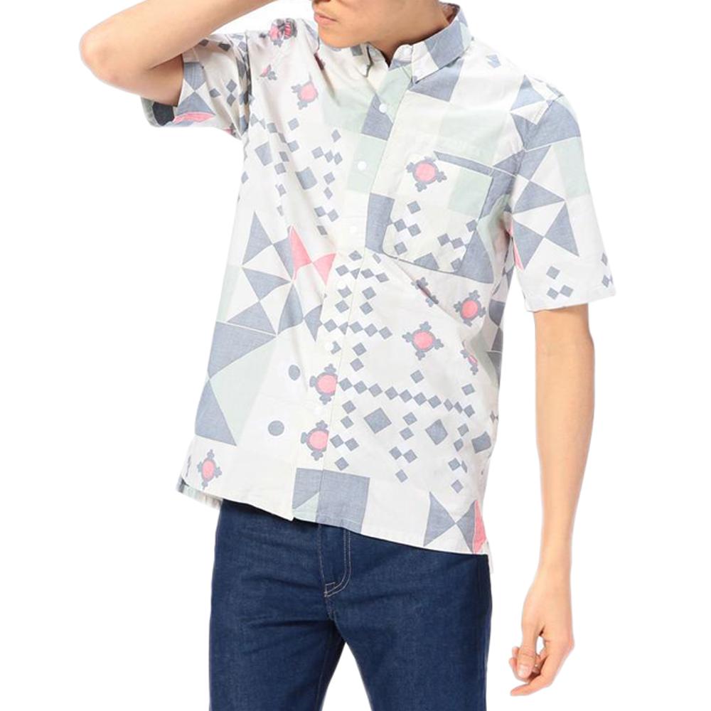 Levis CALIFORNIA 男款純棉圖案拼接短袖襯衫