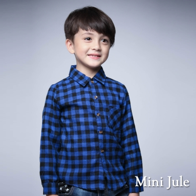 Mini Jule 童裝-襯衫 格紋單口袋棉質長袖襯衫(藍)