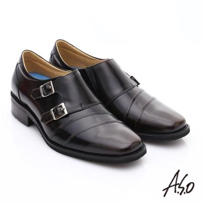 A.S.O菁英通勤 雙飾扣鏡面牛皮奈米皮鞋 咖啡色
