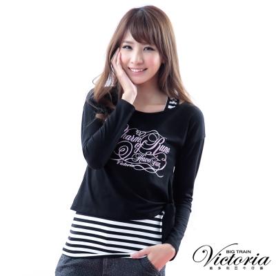 Victoria 兩件式字母漸層印花T-女-黑色