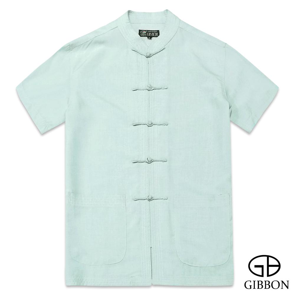 GIBBON 水墨意象精品短袖唐裝‧水綠M~3L