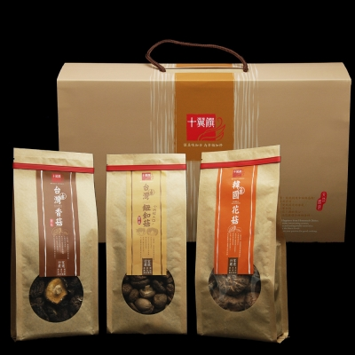 十翼饌 賀歲香菇禮盒(新社香菇100g+鈕釦菇100g+韓國花菇120g )
