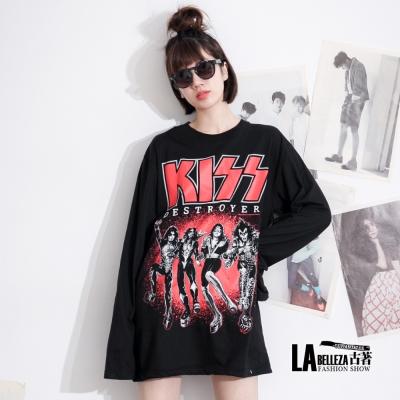 古著 KISS四人搖滾樂團圖印長版T恤