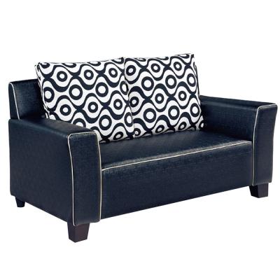沙發 雙人座 摩根黑色皮革沙發 品家居
